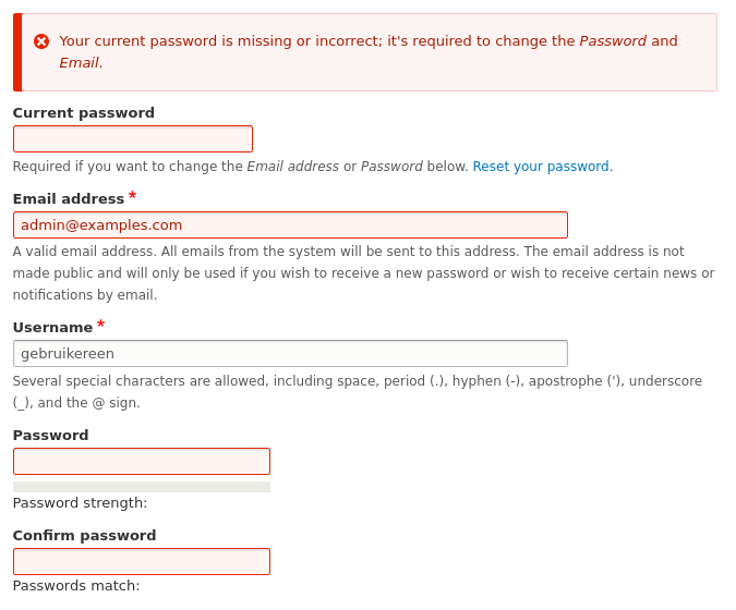 Error highlighting and reporting problems for the current password