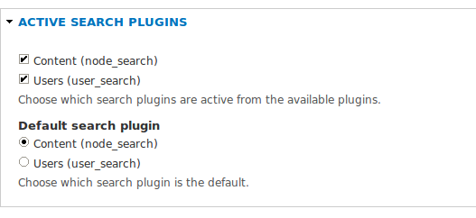 screen shot of Search Settings page, plugins section