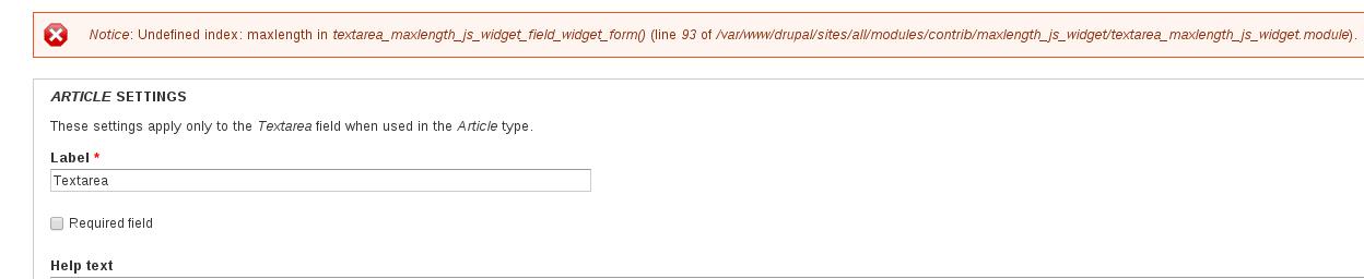 Notice: Undefined index: maxlength in