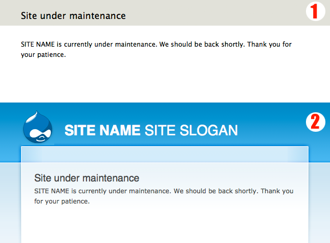 drupal theming maintenance page