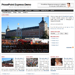 Frontpage of demo site