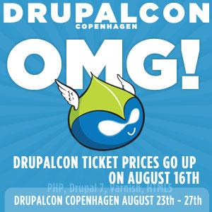 DrupalCon Copenhagen: Ticket prices go up on August 16th