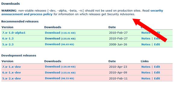Download warning