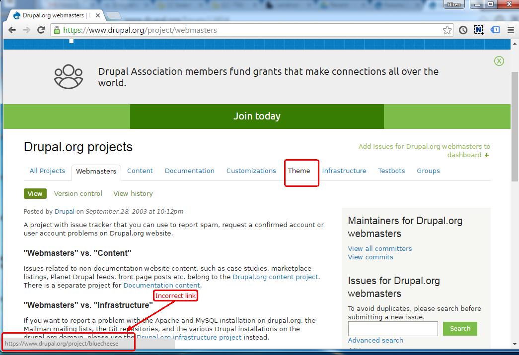 drupal theme links