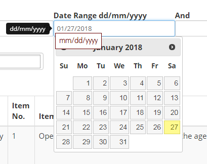 Date picker only works with US date and time formats
