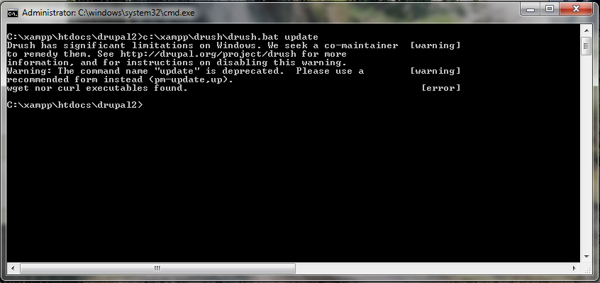 Install drush on Windows - Update drupal 7 x with drush-5 x-dev