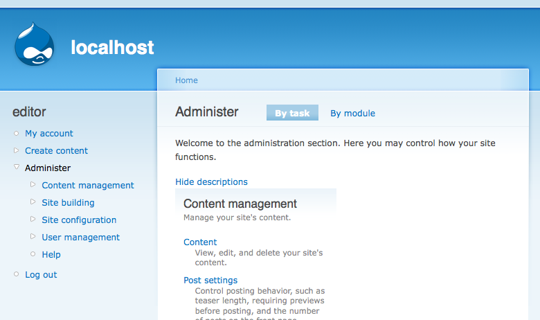 Restrict access to empty top level administration pages [#296693