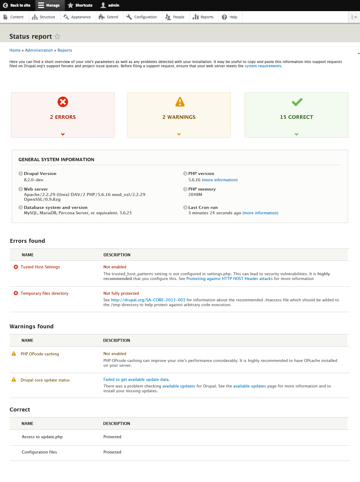 Redesign the status report page [ ]