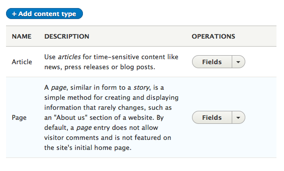 Field UI changes in content type operations