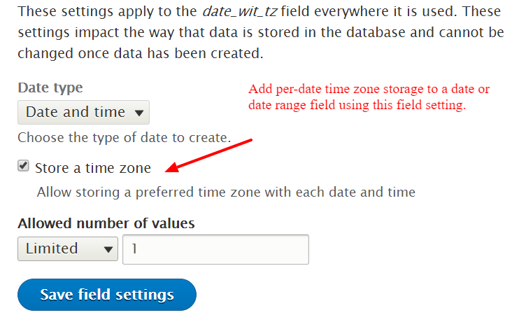 Add ability to select a timezone for datetime field