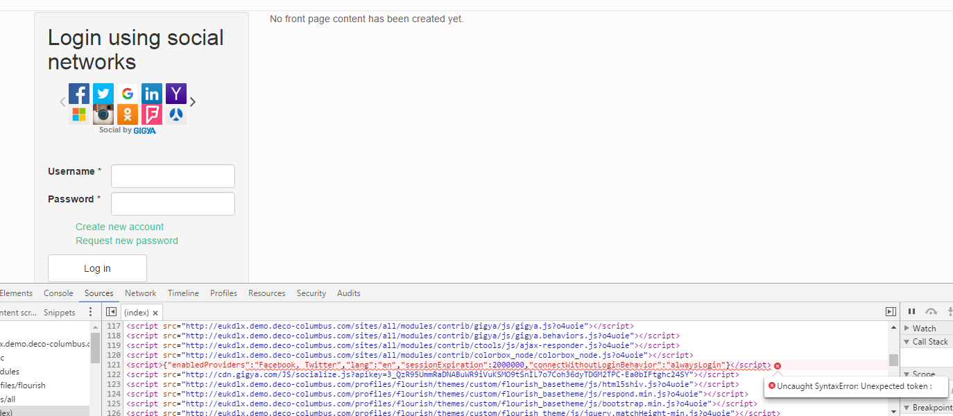JQuery error while enabling few social login [#2696823] | Drupal org