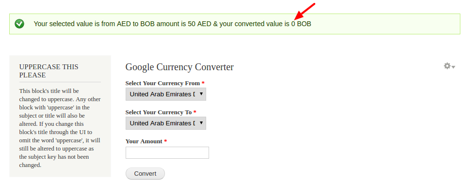 CURRENCY CONVERTER IN PHP USING GOOGLE API - Always showing