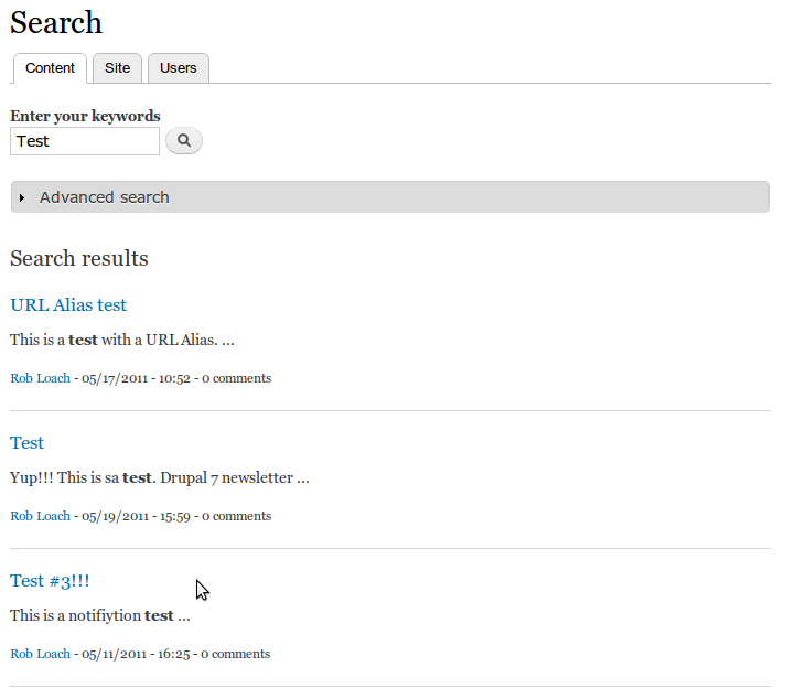 display search results