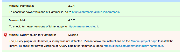 jquery hammer js Showing as missing in Status Report
