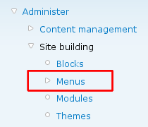 Administer - Site building - Menu with menu highlighted
