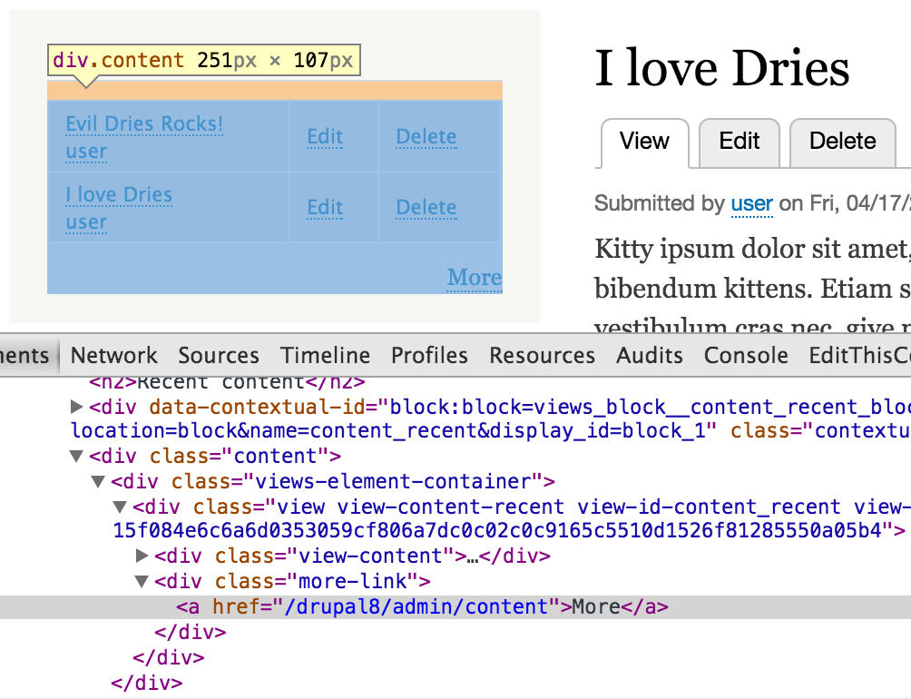 Remove views-more html twig and replace with #type link