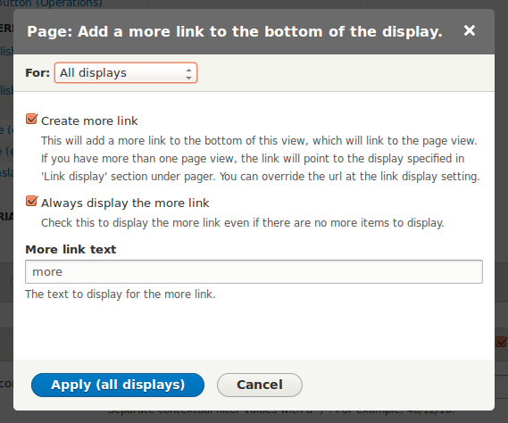The views dialog where the More text can be configured