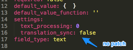Configuration file for a new field on 8.x HEAD showing that the translation_sync setting is present.