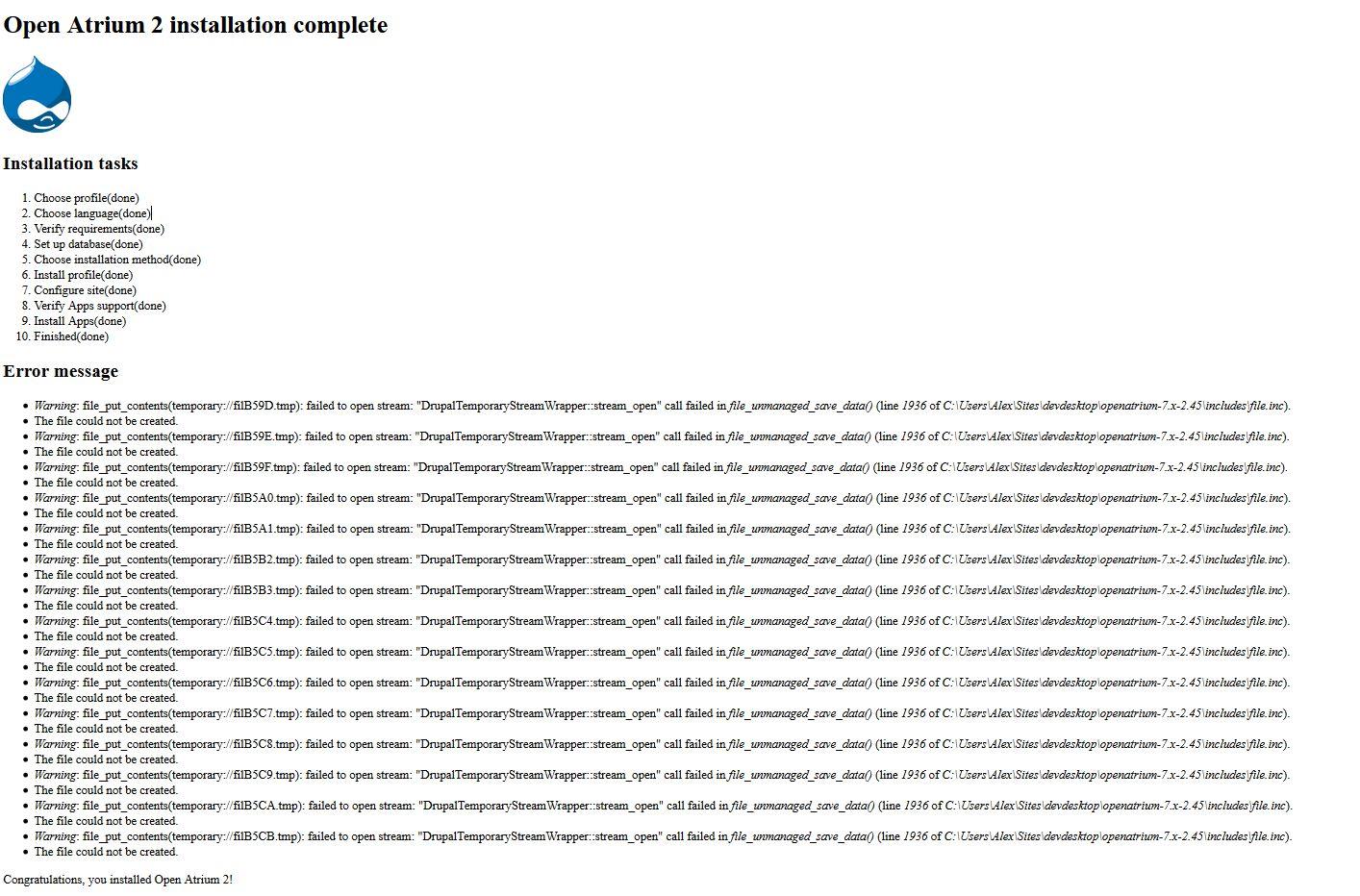 Error when installing Open Atrium 2 using DAMP/WAMP [#2573871