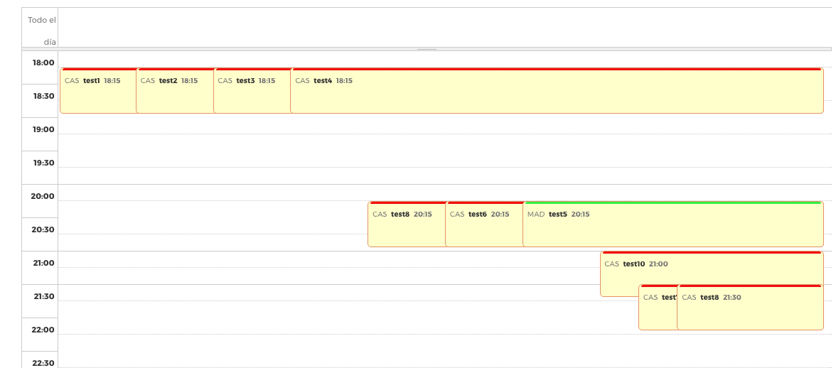 Multiple event with the same time overlap in the week and day view