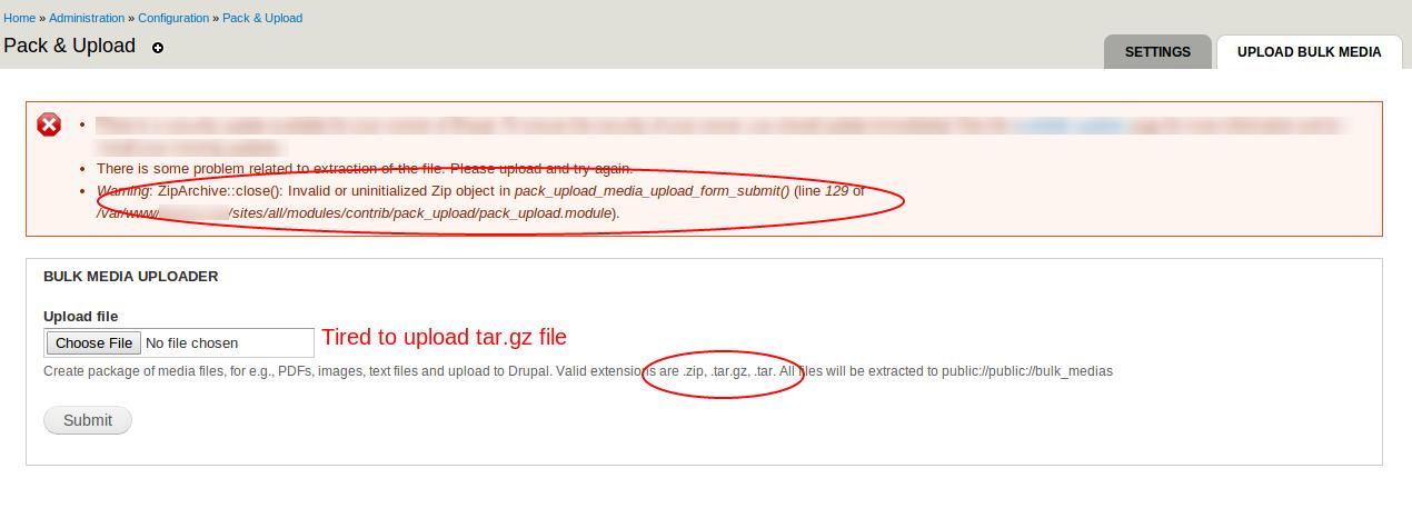 tar gz file upload error [#2689105] | Drupal org