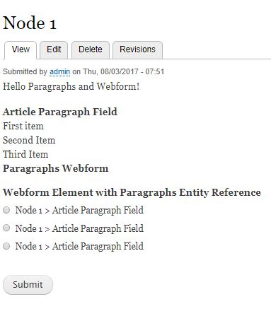 Paragraphs as Entity Reference in Webform not displaying