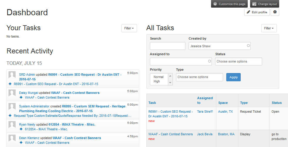 view open atrium work tracker task list for spaces only filter not