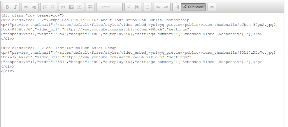 JSON.parse error in the WYSIWYG integration when embed markup nested ...