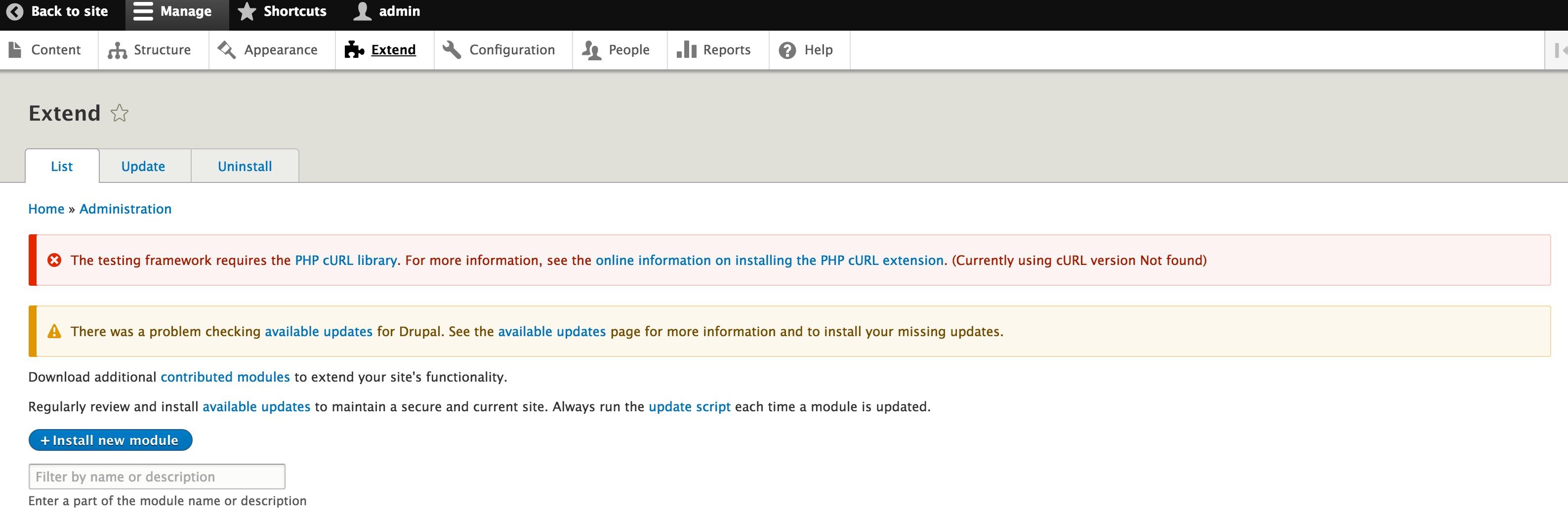 Improve module description and error message about missing