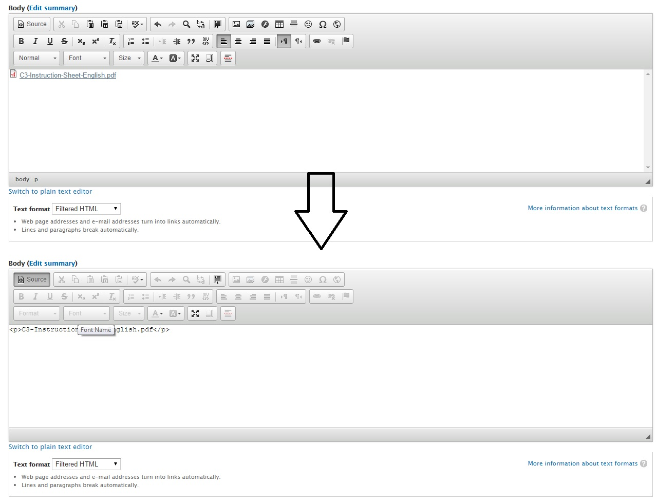 Link / Icon to media document is stripped out by ckeditor