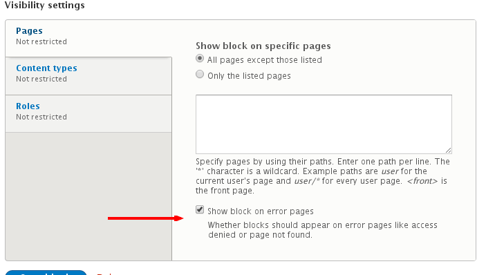 Allow blocks to be configured to show/hide on 403/404 pages