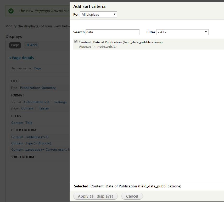 Can't add Date sort criteria [#2790441] | Drupal org