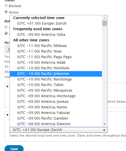 Time zone selection improvement (performance/UX) [#2678010