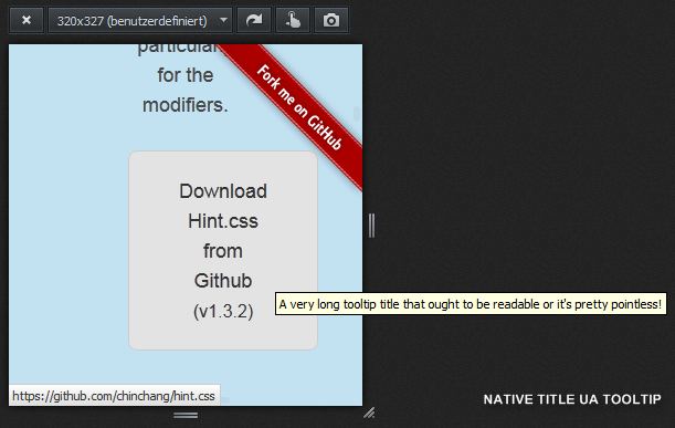 Native Title UA tooltips can appear outside of the browser window to be readable.