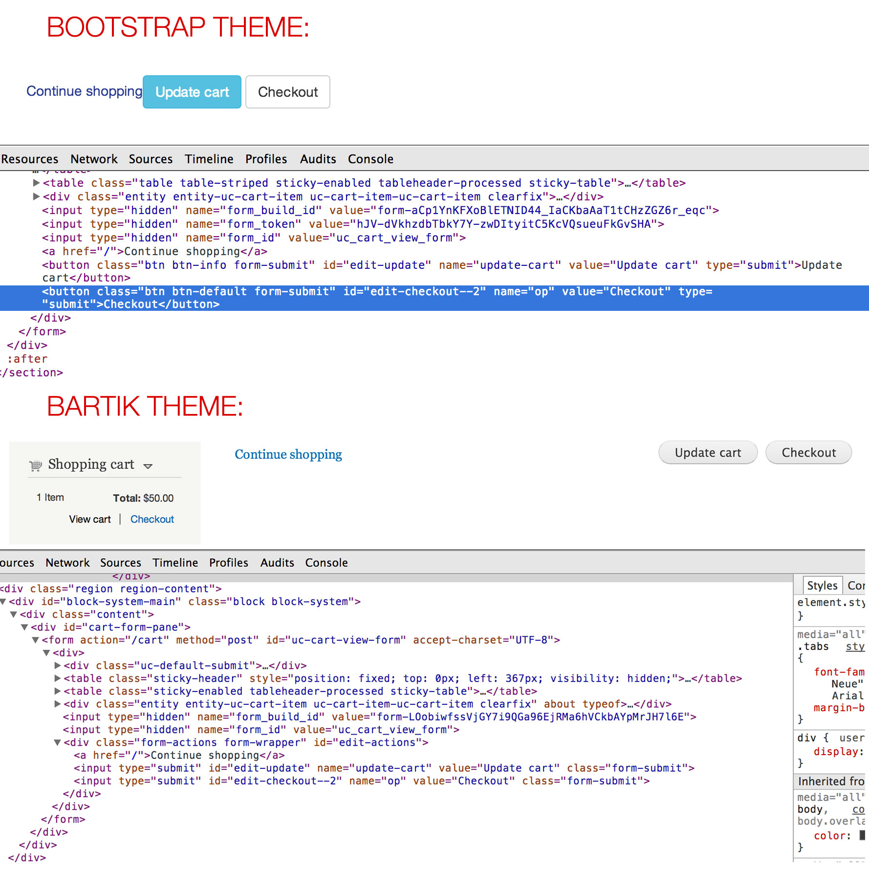 Form action wrapper being removed entirely 2169055 drupal ubercartthemecompareg falaconquin