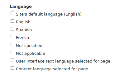 Screen shot of choices for vies language filter