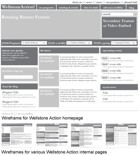 Wellstone Action Wireframe Examples