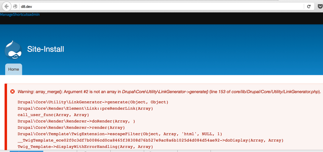 Array merge failure on line 153 of core/lib/Drupal/Core/Utility