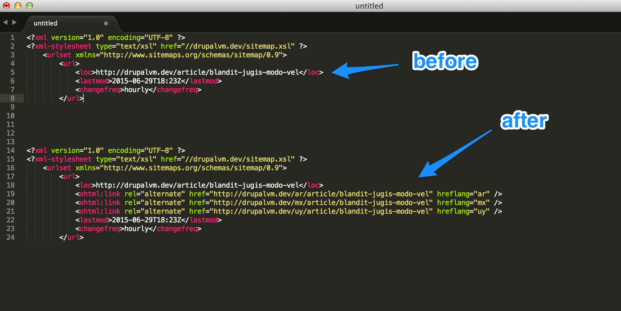 having rel alternate urls in sitemap under custom circumstances