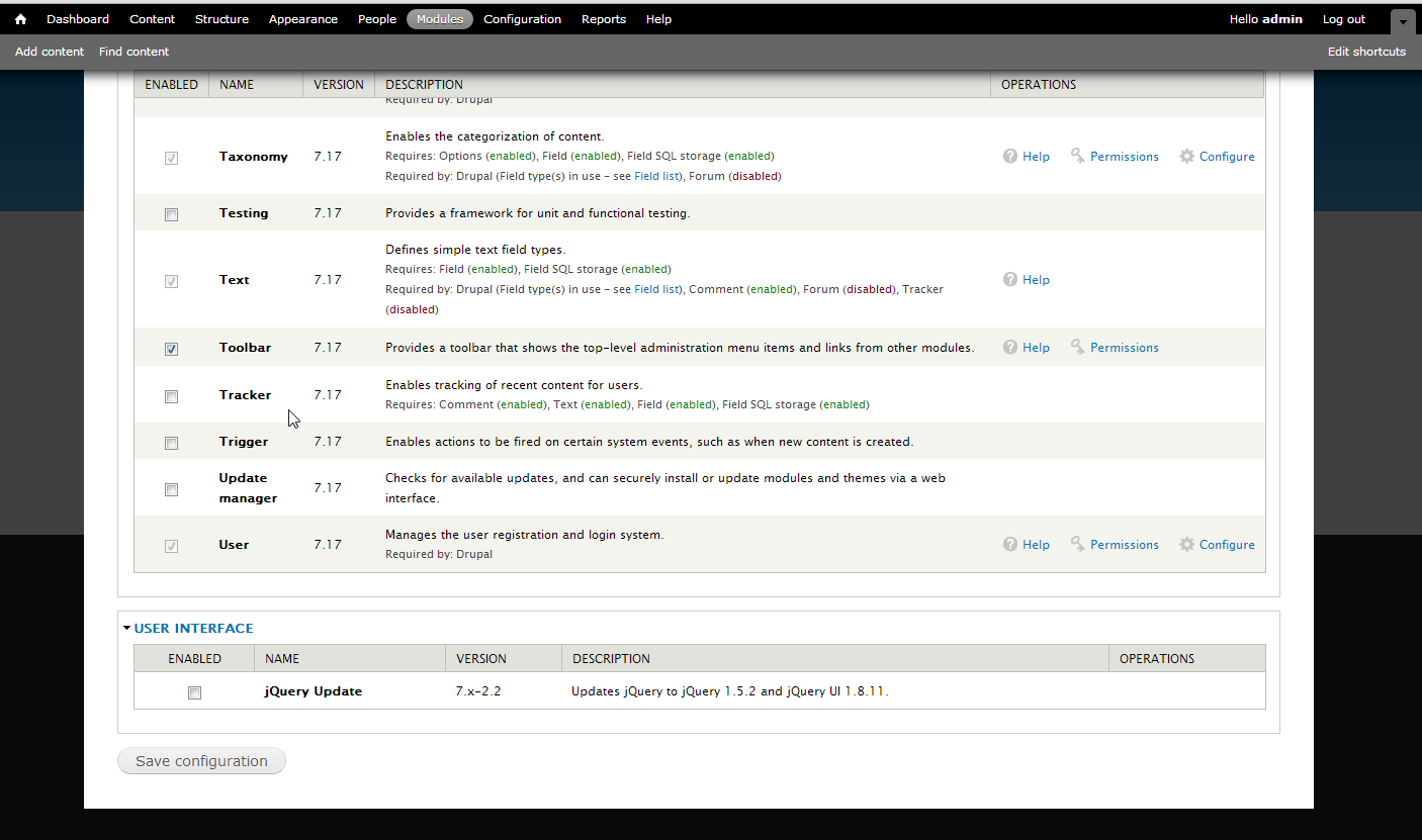 Screen shot of modules page in Drupal 7-17