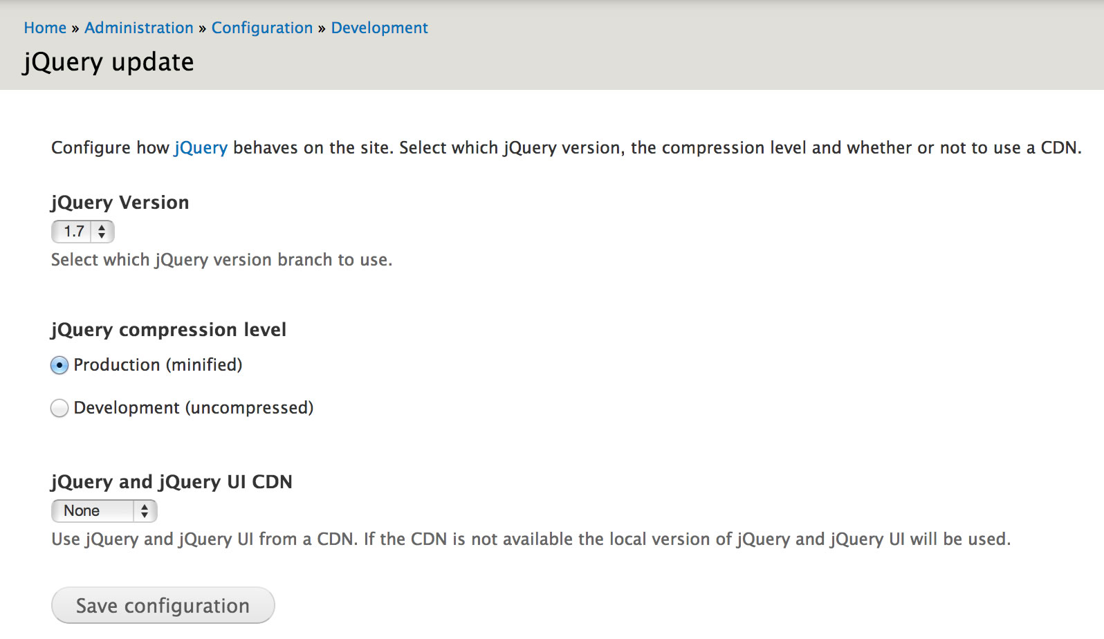 Setting up jQuery Update for Foundation | Drupal org