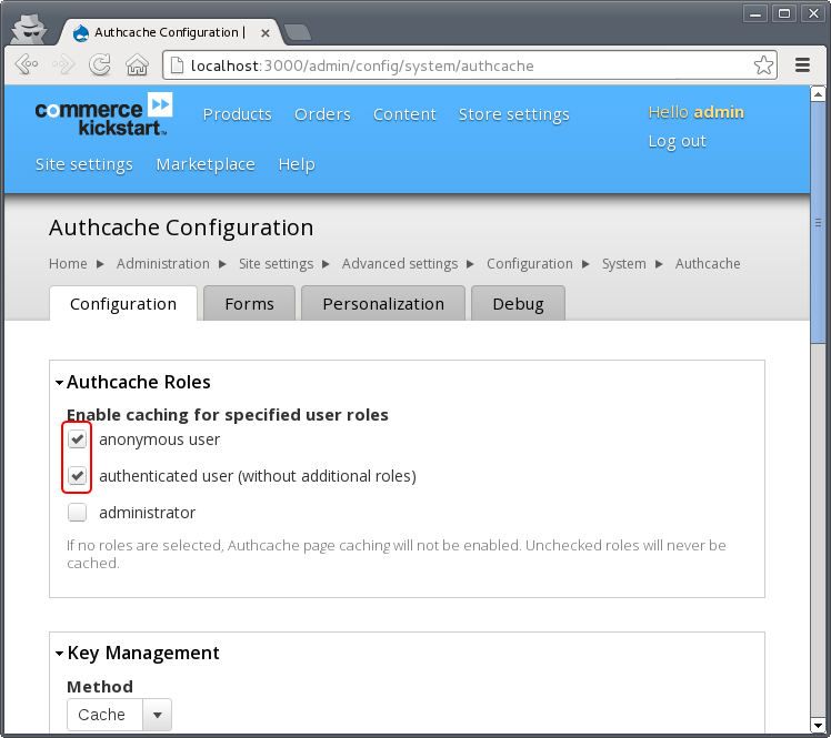 Screenshot showing the authcache settings