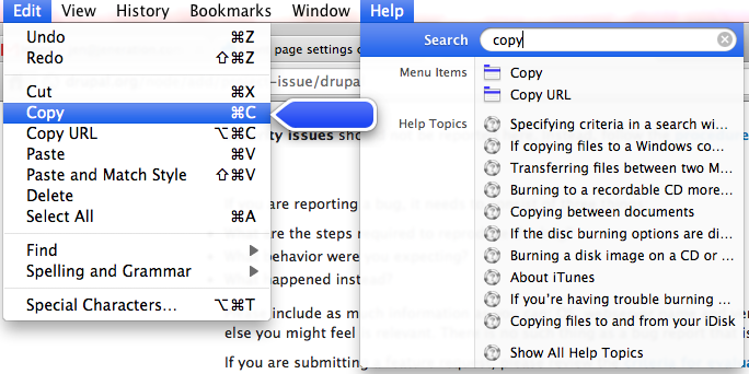 screenshot of mac OS X help system