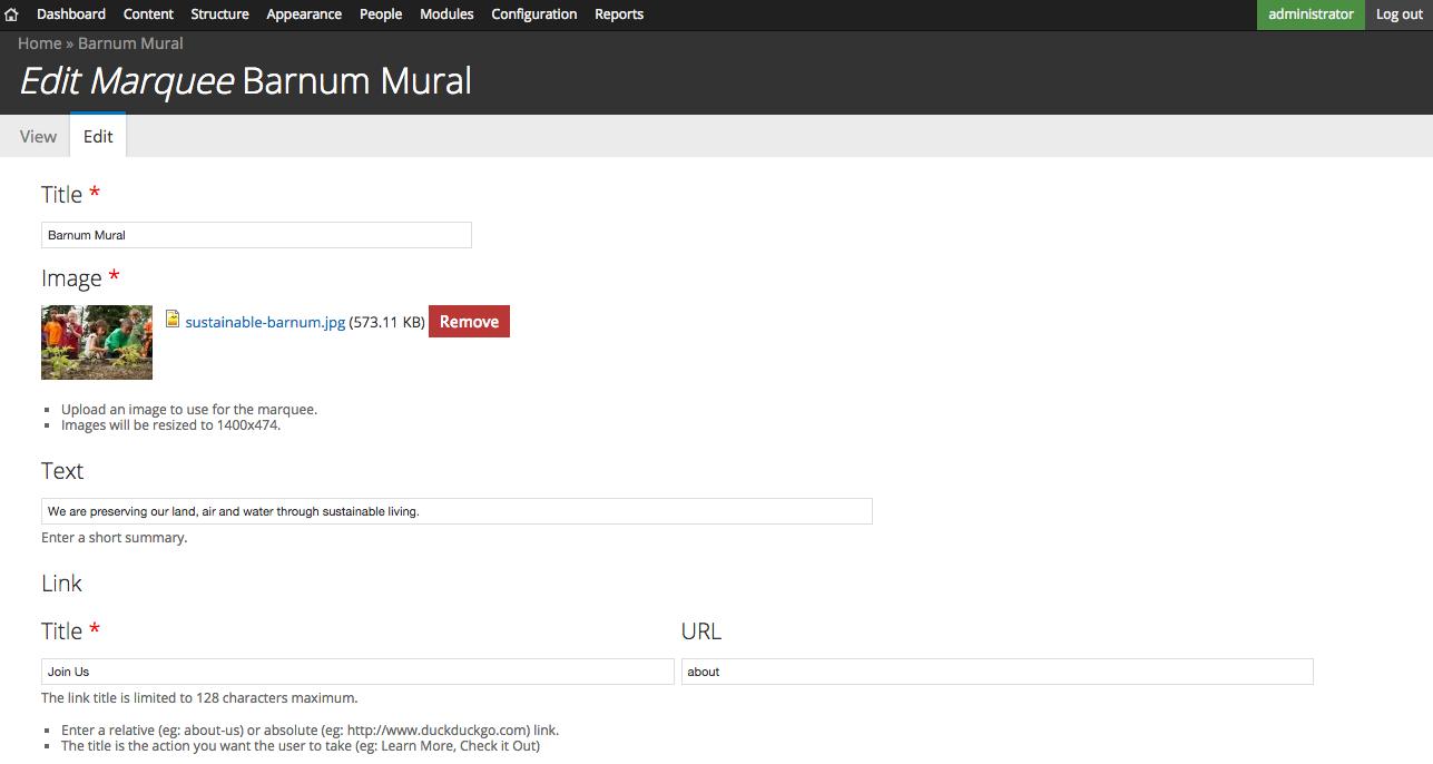 Atom marquee drupal screenshot of marquee edit form baditri Gallery