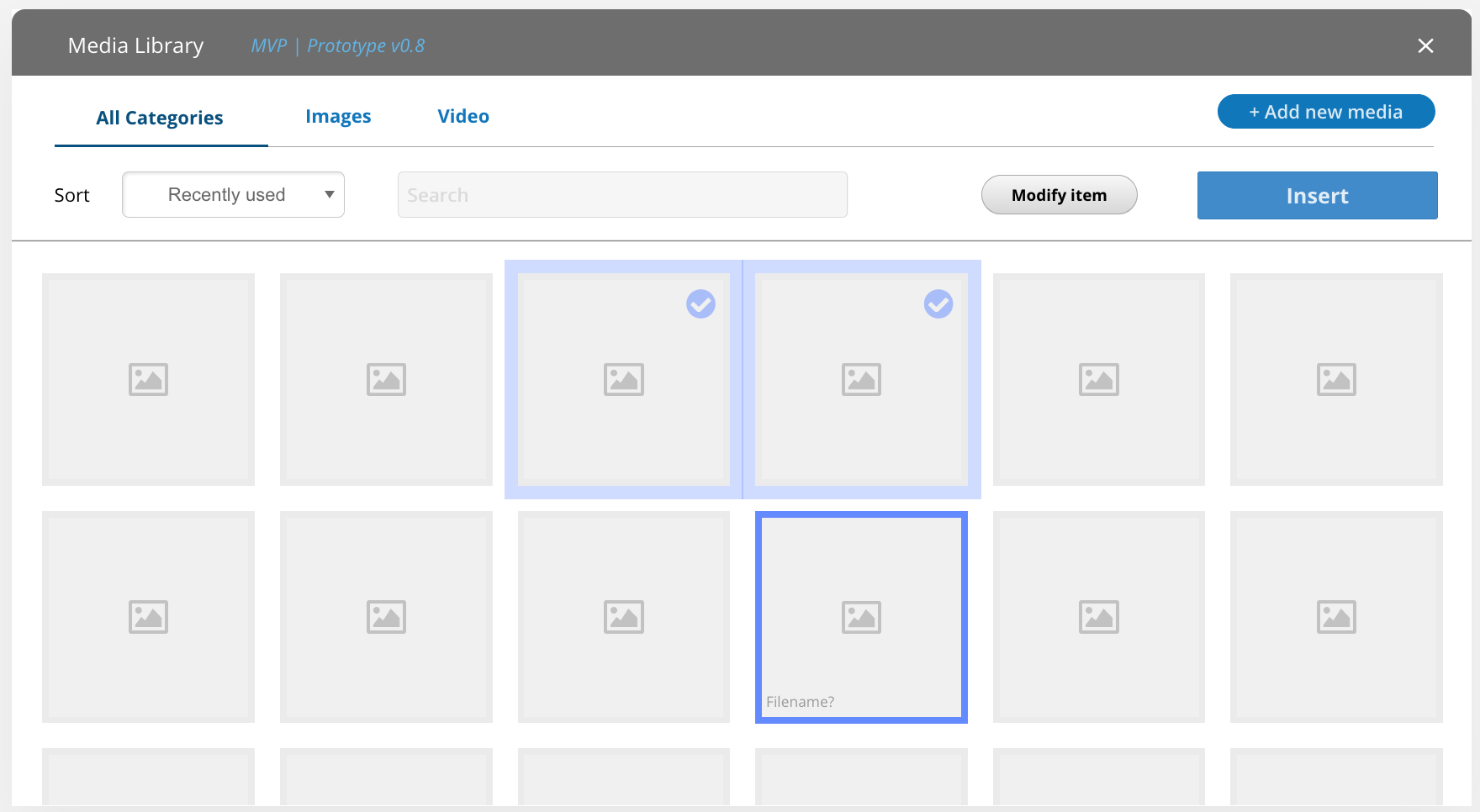 Media browsing interface showing thumbnails in a grid