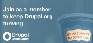 Join as a member to keep Drupal.org thriving. Coffee cup with words We are happy to serve you. Drupal Association logo.