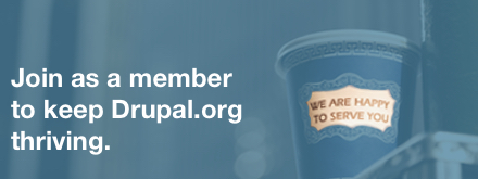 Join as a member to keep Drupal.org thriving. Coffee cup with the text We are happy to serve you.