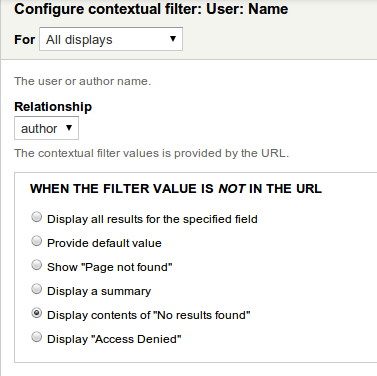 User article contextual filter no results