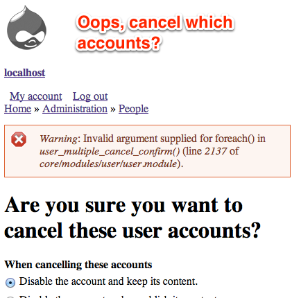 ...And when you click the second 'add user' link, it displays a warning because no user accounts were there to cancel, because none are listed on the page.