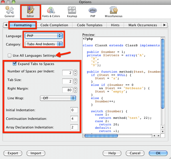 NetBeans tabs and indents